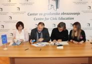 Potpisivanje ugovora sa OCD čiji su projekti podržani na drugom konkursu Smjestimo korupciju u muzej!, Podgorica, 24. 12. 2018.